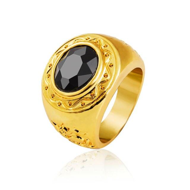 2016 New Design Hot Sale Hip Hop Men's Ring Fashion Latest Gold Finger Ring Designs With Black Gem For Men Women