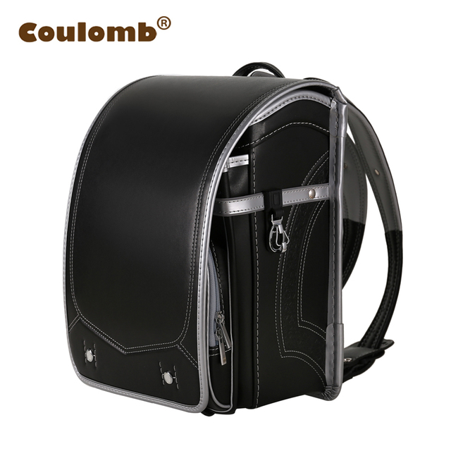 Coulomb Children School bag For Boy And Girl Student Backpack Japanese PU Hasp Solid Boy Orthopedic Bookbags 2018 New