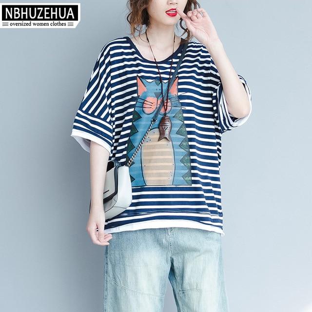 6094c209b5 NBHUZEHUA A63 Striped T Shirt Women Koran Fashion Kawaii Cat Print T-Shirt  Plus Size