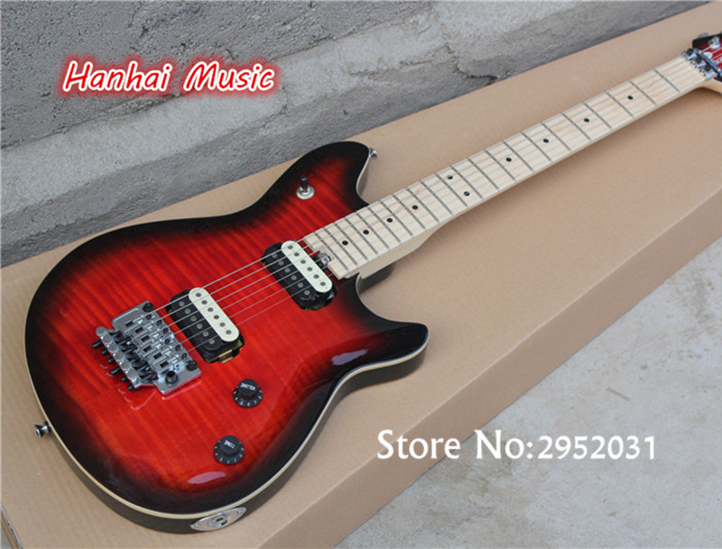 free shipping electric guitar floyd rose flame maple veneer tuners with lock 2 open pickups can. Black Bedroom Furniture Sets. Home Design Ideas