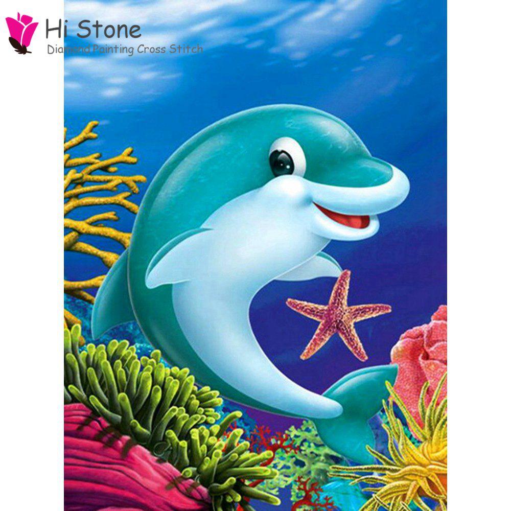 DIY алмазов картина мультфильм Дельфин под Sea World 5D полный квадратный С кристалалми и стразами живопись вышивки крестом домашнего декора пода...