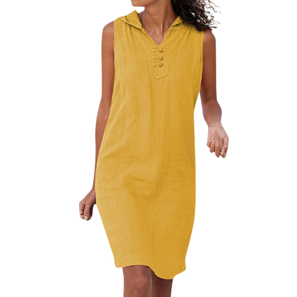 JAYCOSIN 2019 New Summer Women Dresses Casual Tunic Sleeveless Straight Solid Color Hooded Knee-Length Beach Sundress 9040926