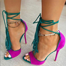 Sexy High Heels Fashion Tassel Woman Shoes Ankle Strap Gladiator Sandals Women Open Toe Mixed Colors Flock Ladies Party Shoes недорого