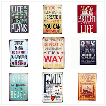2019 New Arrival Family Rules Tin Sign Vintage Art Metal Plate Pub Bar Cafe Wall Poster Retro Home Decor 30x20cm Mix Order A949