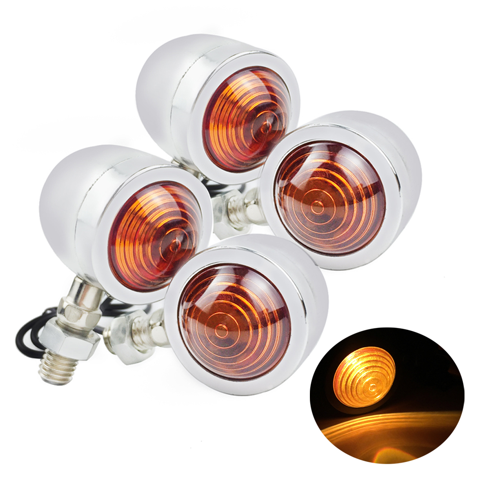4x Universal Motorcycle Bullet Turn Signal Indicator Lamp Amber Motorbike Blinker Light Moto For Harley Cafe Racer