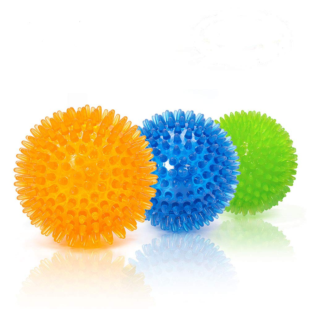 Pet Squeaky Chewing Balls Puppy Chew Toys Soft Stab Cleaning Teeth Play with High Bounce for Small Dog Cat