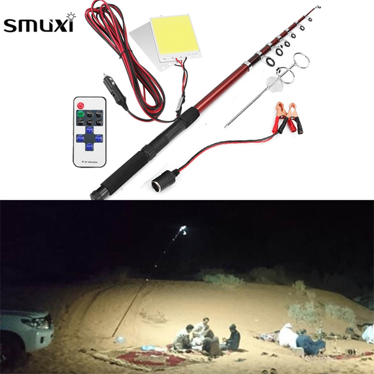 Smuxi 12V 2*96W 3.75 Meters LED Car Rod Light Remote Control Camping Telescopic Outdoor Fishing Lamp Light