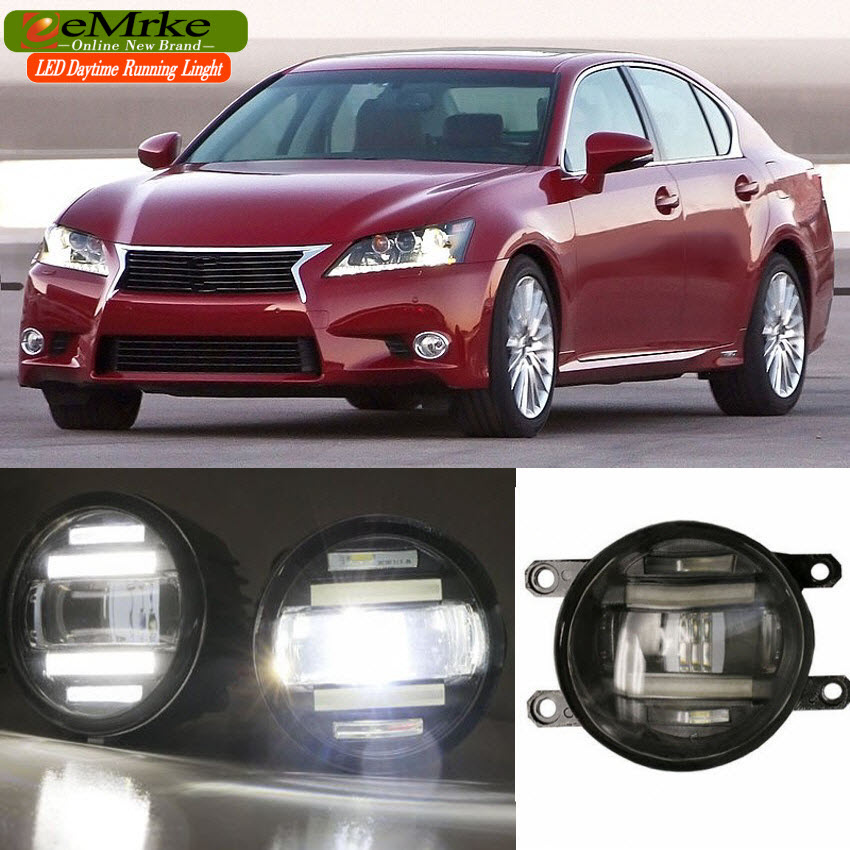 eeMrke For Lexus GS350 GS460 GS450h L10 Xenon White High Power 2 in 1 LED DRL Projector Fog Lamp With Lens 4pcs set smoke sun rain visor vent window deflector shield guard shade for lexus gs class gs300 gs350 gs450h gs460 2007 2011