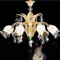 Светодиодные хрустальные люстры люстра стекло деревенский потолок установлены светодиодные светильники стекло гостиная столовая лампа П