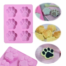 1pcs Paw Print Soap Ice Cream Chocolate Cake Plaster Silicone Mold Fun Maker NEW