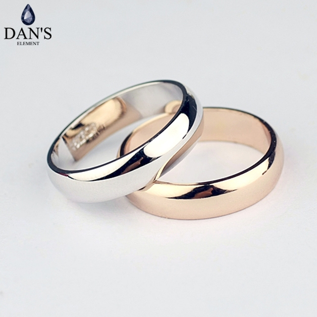 Dan's Element Brand Real round Simple Couple Copper Gold Color Fashion Wedding R