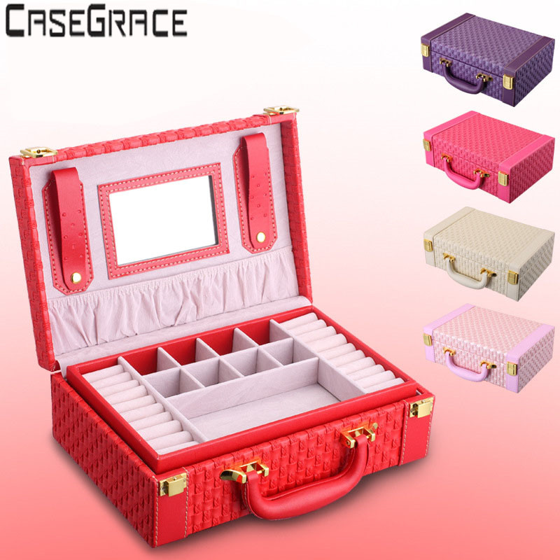 Multideck Jewelry Box Red Casket For Watch Lock Box Cosmetic Organizer With Mirror Bistratal Jewel Box Container Carrying Case