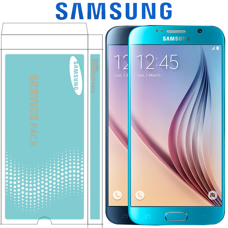 Blue White Gold Sky Blue ORIGINAL 5 1 LCD with Frame for SAMSUNG Galaxy S6 Display