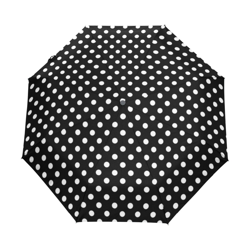 Orange White Polka Dots Folding Windproof outdoor Travel Umbrella for Women
