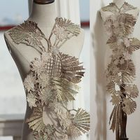 Golden High Quallity Hot Drilling Lace Appliques Floral Embroidered Patches Wedding Supplies Bridal Hair Flower 1Piece