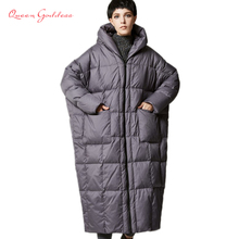 The new winter 2017 European and American version of the type casual loose cocoon jacket thick long sleeve hooded down