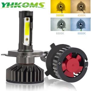 Image 1 - YHKOMS Canbus 車のヘッドライト LED H4 H7 3000 18K 4300 18K 6500 18K 8000 18K LED 電球 H11 H8 H1 h3 9005 9006 880 881 H27 オートフォグライトランプ