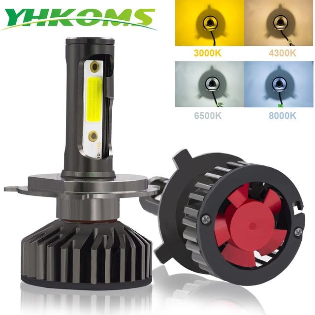 YHKOMS Canbus רכב פנס LED H4 H7 3000 K 4300 K 6500 K 8000 K LED הנורה H11 H8 H1 h3 9005 9006 880 881 H27 אוטומטי ערפל אור מנורה