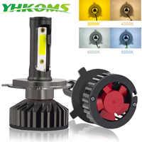 YHKOMS Canbus reflektor samochodowy LED H4 H7 3000K 4300K 6500K 8000K żarówka LED H11 H8 H1 H3 9005 9006 880 881 H27 auto światło przeciwmgielne lampy