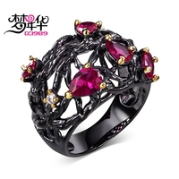 DC1989 New Arrival Jewelry Black Gold Plated Fuchsia Drop Cubic Zirconia Lead Free Evening Cocktail Ring