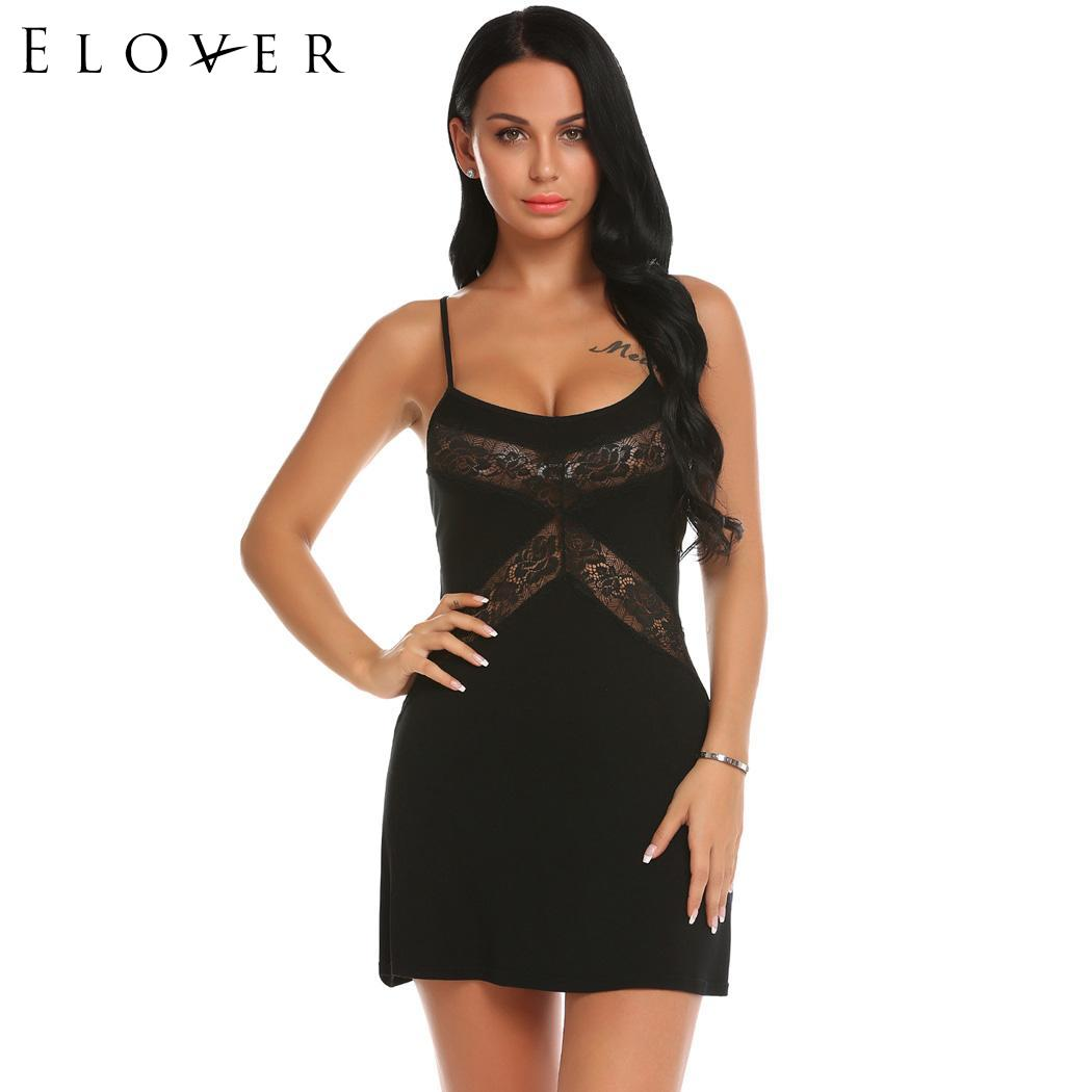 <font><b>Elover</b></font> <font><b>Baby</b></font> <font><b>doll</b></font> <font><b>Lingerie</b></font> <font><b>Sexy</b></font> Nightwear Plus Size for Women Lace Patchwork Chemise with G-String Erotic <font><b>Underwear</b></font> image