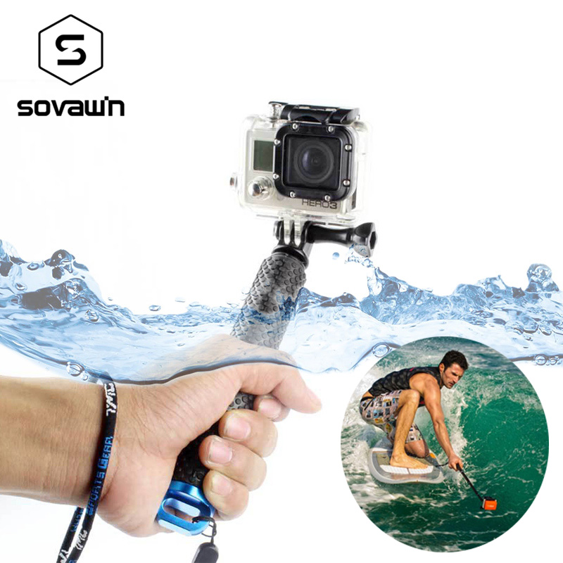 Selfie Stick para gopro goma antideslizante de aluminio extensible doblado impermeable selfie Stick para Hero para sjcam para xiaomi Yi