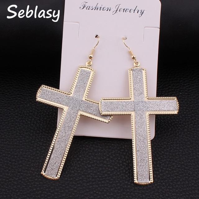 Seblasy Bijuterias Gold Silver Black Color Scrub Cross Earrings Alloy Punk Dangle For Women