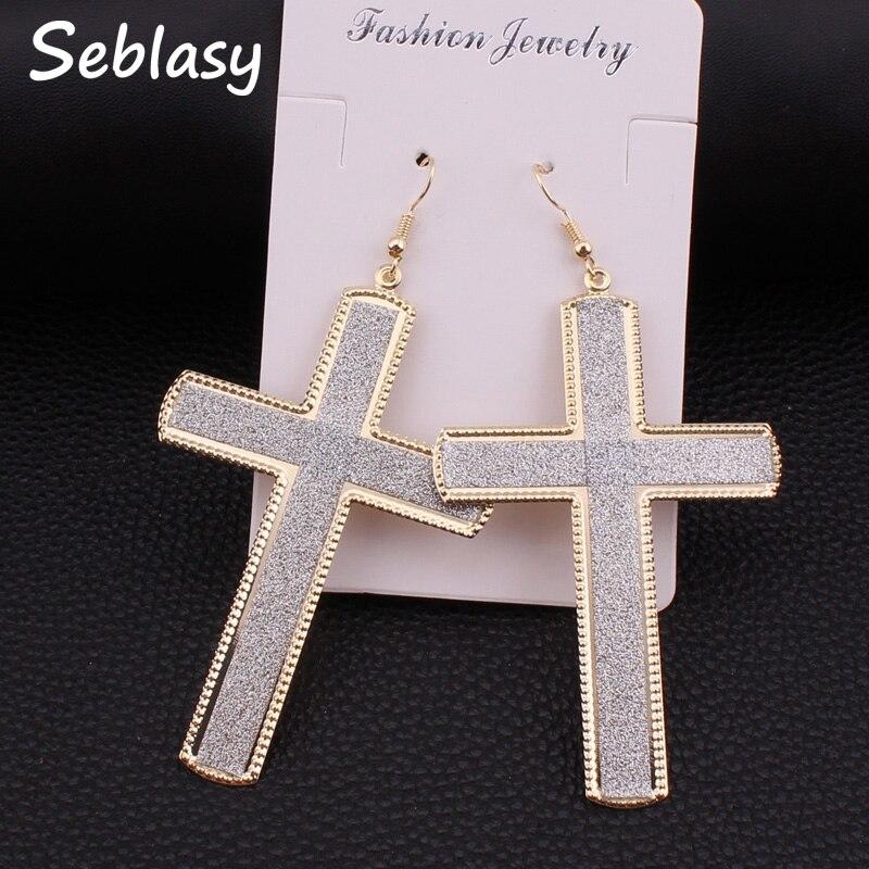 Seblasy Bijuterias Gold Silver Black Color Big Scrub Cross Earrings Alloy Punk Dangle Earrings For Women Accessories Party Gift