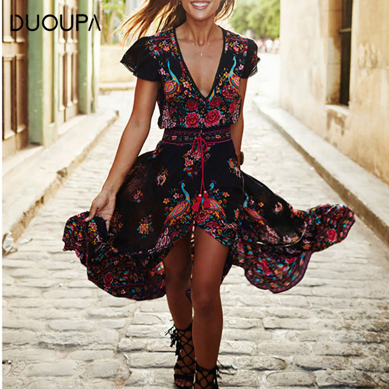 DUOUPA Women Summer Robe Vintage Boho Long Maxi Dresses Short Sleeve Beach Dress Bohemian in Dresses from Women 39 s Clothing