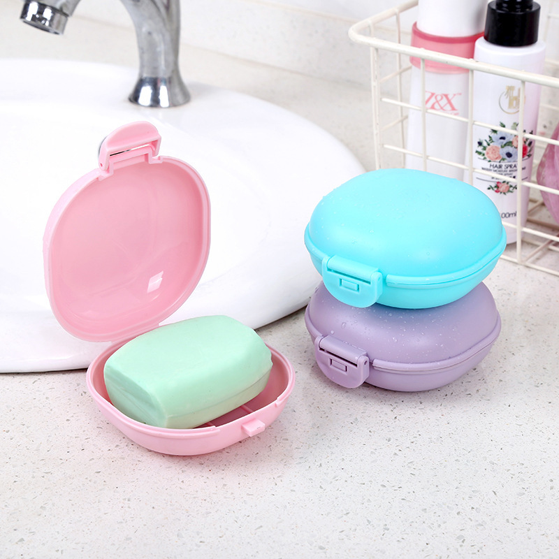 1pc Portable Travel Cube Soap Box Plastic Waterproof Dish With Lid Soap Dish Box Useful Case Container Bathroom Accessories