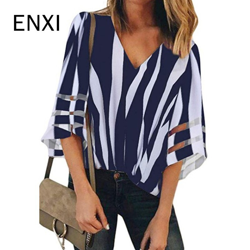 ENXI 8 Color Summer Pregnant Women's Clothes Maternity Chiffon Blouses Sexy Tops V Neck Casual Shirts Pregnancy Clothing(China)