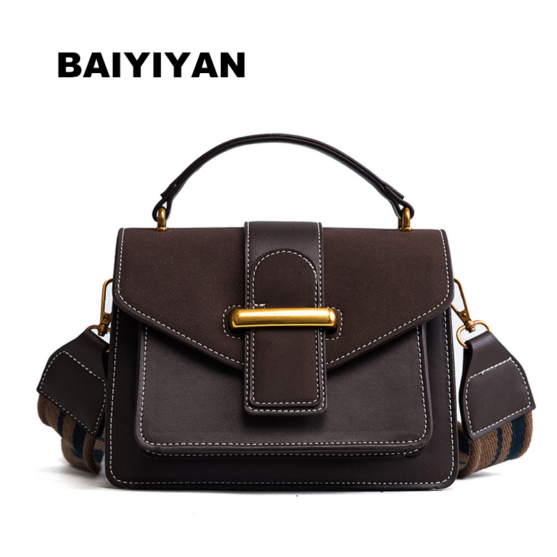 PU Leather European and American Retro women Tote bag Women messenger bag high quality Small shoulder bags Wide shoulder straps
