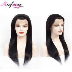 NAFUN волосы прямые Синтетические волосы на кружеве натуральные волосы парики для Для женщин предварительно сорвал волосяного покрова