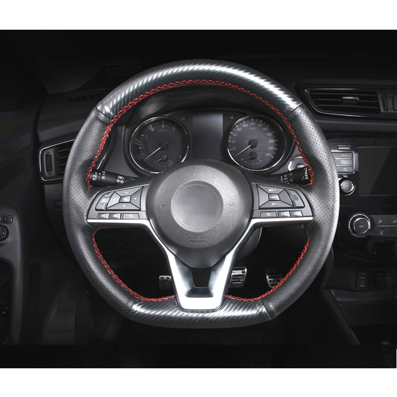 Handmade Sewing Leather Carbon Fiber Vein Steering Cover for Nissan X Trail T32 XTrail 2017 2018 Car Sytling Accessories