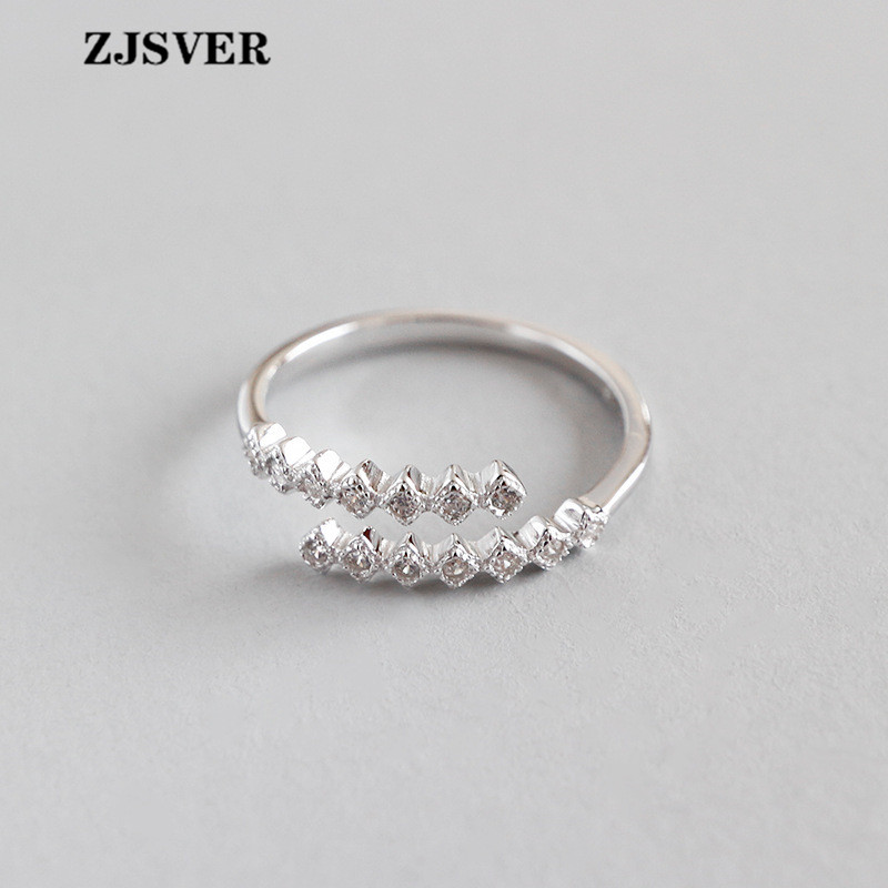 ZJSVER Fine Jewelry 925 Sterling Silver Rings Fashion Simple Micro-set Small Cube Zircon Women Ring For Festival Present(China)