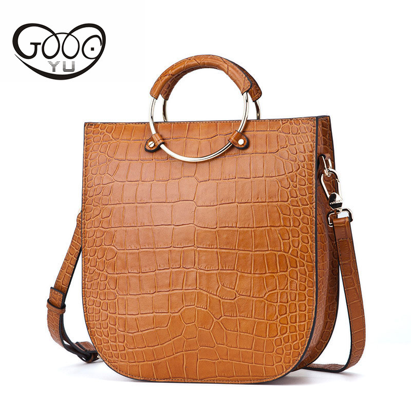 New fashion classic women's leather large capacity Tote bag head cowhide crocodile pattern multi-color metal ring portable small metal ring tassels colour block tote bag