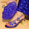 2018 Royal Blue Summer New coming African Sandals Italian shoes and bag to match shoes with bag set with shining crystal