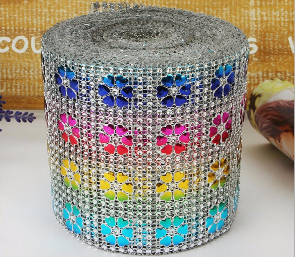 10Yard Multicolor Heart Flower Bendable Mesh Wrap Roll Sparkle Rhinestone Trim Ribbon For Wedding Gift Party Craft Decoration