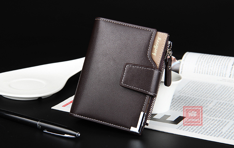 Leather Multifunction Men Wallets Zipper Pocket Trifold Purse Card Holder Hasp Wallet Zipper Purse brown one size 6