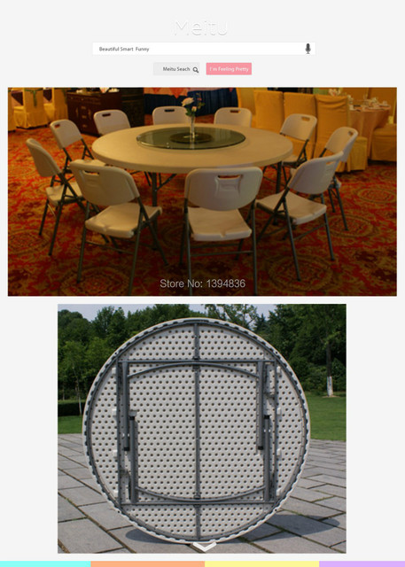 6ft Plastic Round Folding Table For 10 Person Used