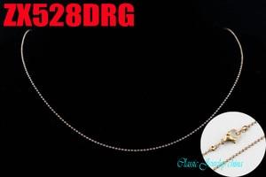 Image 2 - Rosa cor de ouro 1.2mm cadeia de bola com fecho da lagosta colar de contas correntes de aço inoxidável moda jóias 20 pcs ZX528DRG