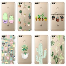 Back Cover For Huawei P10 P20 P8 P9 Lite 2017 Silicone Sof Cactus Phone Case For Huawei P20 Pro P10 Plus P Smart P9 Lite Mini(China)