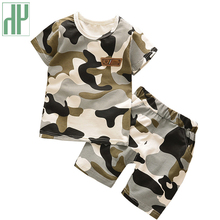 Summer Children Boy Clothes Sets Kids 2pcs Short Sleeves T-shirt Toddler Suits Sports Baby Girl Clothes Camouflage Clothes стоимость