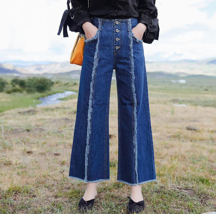 2017 Autumn Women High Waist Wide Leg Jeans Ladies Fashion Loose Casual Denim trousers Boot Cut Pants 171151 лампа для аквариума хаген сан гло 15 вт 43 74см