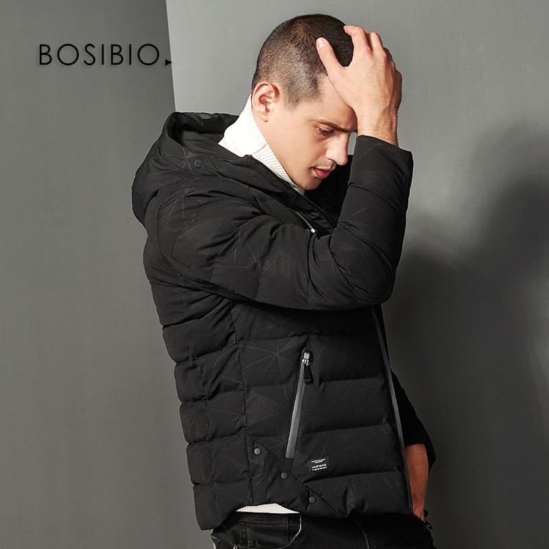 Erkek Kıyafeti'ten Parkalar'de BOSIBIO 2018 Erkek kışlık ceketler Kapşonlu Pamuk Yastıklı Rahat Parkas Slim Fit Kalın Sıcak erkek Ceket Marka Giyim 8133'da  Grup 1