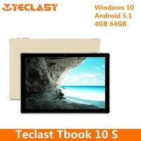 Teclast Tbook 10 S 10,1 дюймов планшетный ПК Intel Cherry Trail Z8350 четырехъядерный процессор 1,44 ГГц Windows 10 Android 5,1 4 Гб ram 64 Гб rom BT HDMI