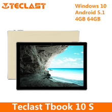 Teclast Tbook 10S 2 In 1 Tablet PC Quad Core 1.44GHz 10.1 Inch With Windows 10 + Android 5.1 4GB RAM 64GB ROM