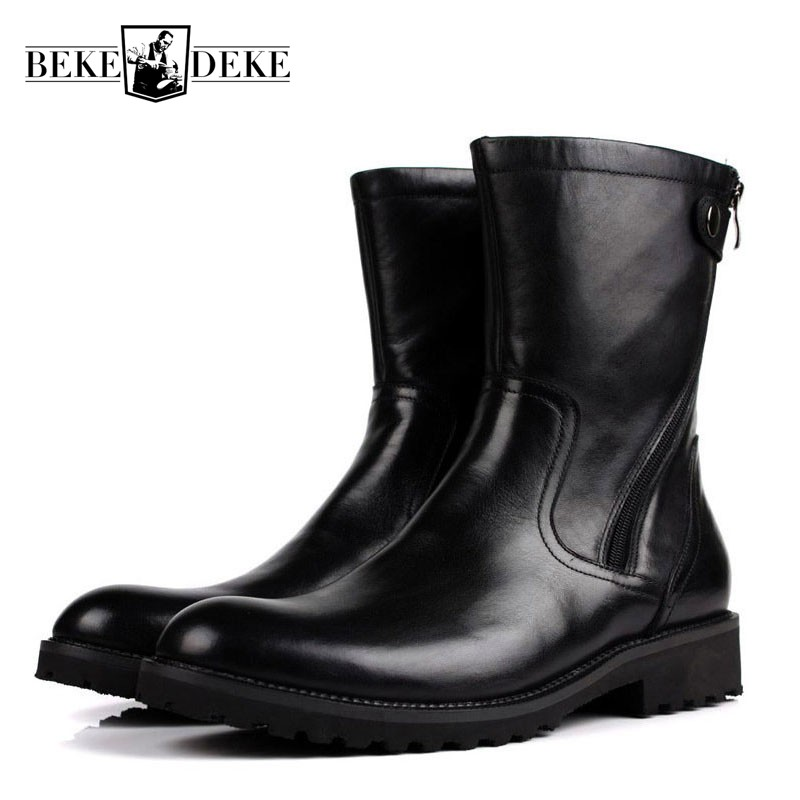 Mens Winter Fur Lining Snow Boots Warm Genuine Leather Mid-Calf Boots With Buckle Antiskid Platform Italian Shoes Male Footwear morazora 2018 new genuine leather snow boots women thick fur warm down mid calf winter boots round toe platform shoes size 35 44