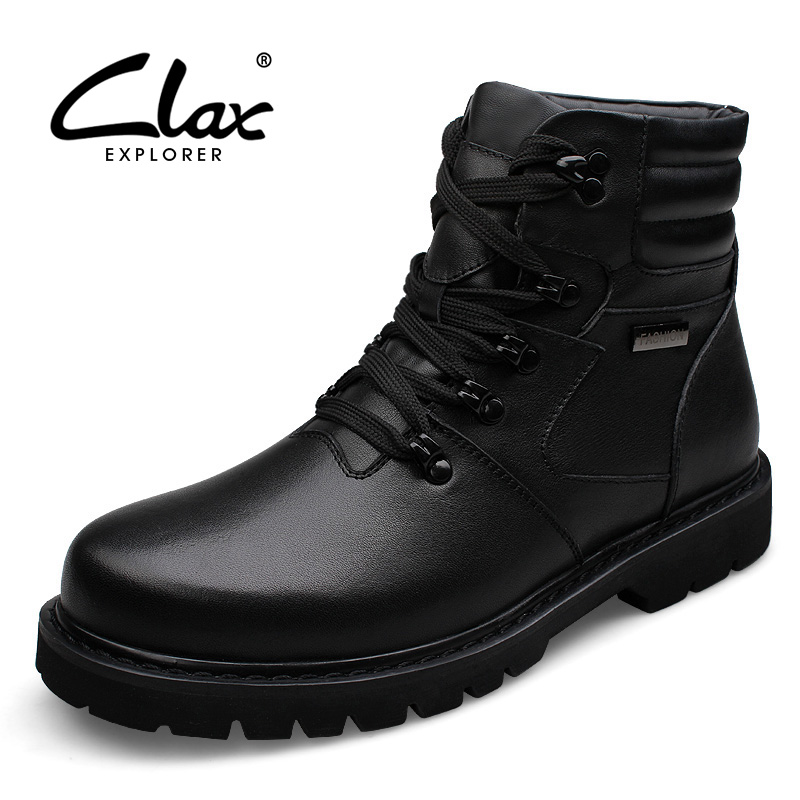 CLAX Mens Winter Boots High Top Genuine Leather Leather Shoes plush Fur Warm Snow Shoes Male Casual Boot Work Boots plus size clax mens boot spring autumn ankle boot genuine leather male casual leather shoe winter boots men snow shoes fur warm plus size