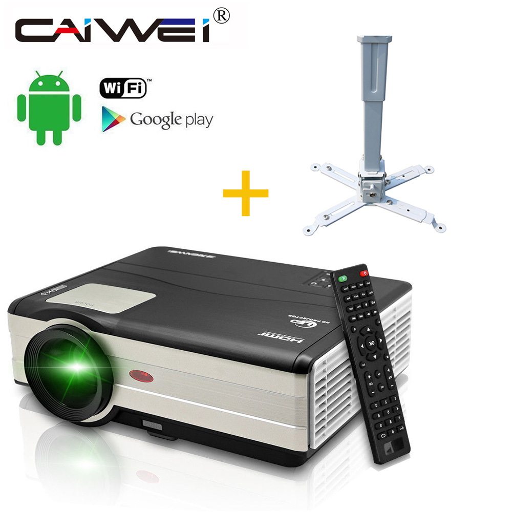 Android WIFI Google Airplay LED 1080P HD Home Projector Cinema Theater Movie VGA TV Channel USB HDMI AV with Wall Mount Holder new home cinema theater 720p hd led lcd projector hdmi av tv vga sd uk eu au plug professional office school business decoration